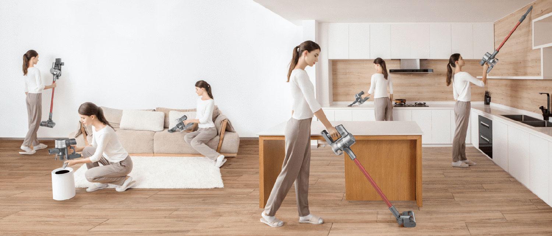 Dreame T10, visualisering av hur enkelt det är att städa: den simulerade bilden visar hur samma kvinna gör sex olika saker med dammsugaren.
