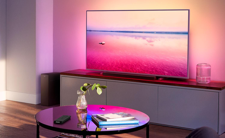 Philips TAB6305/10 soundbar med trådlös subwoofer. Tunn soundbar som får plats på tv-bänken under TV'n.