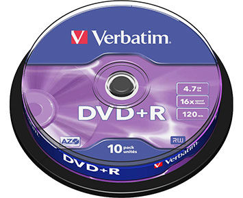 Verbatim DVD+R 4.7GB 16X 10p Spindle