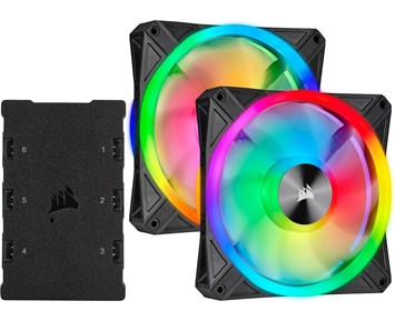 Corsair iCUE QL140 RGB 140mm PWM Dual Fan Kit with Lighting Node CORE