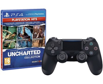 PS4 DualShock 4 v2 - Jet Black + Uncharted Collection 1-3 HITS