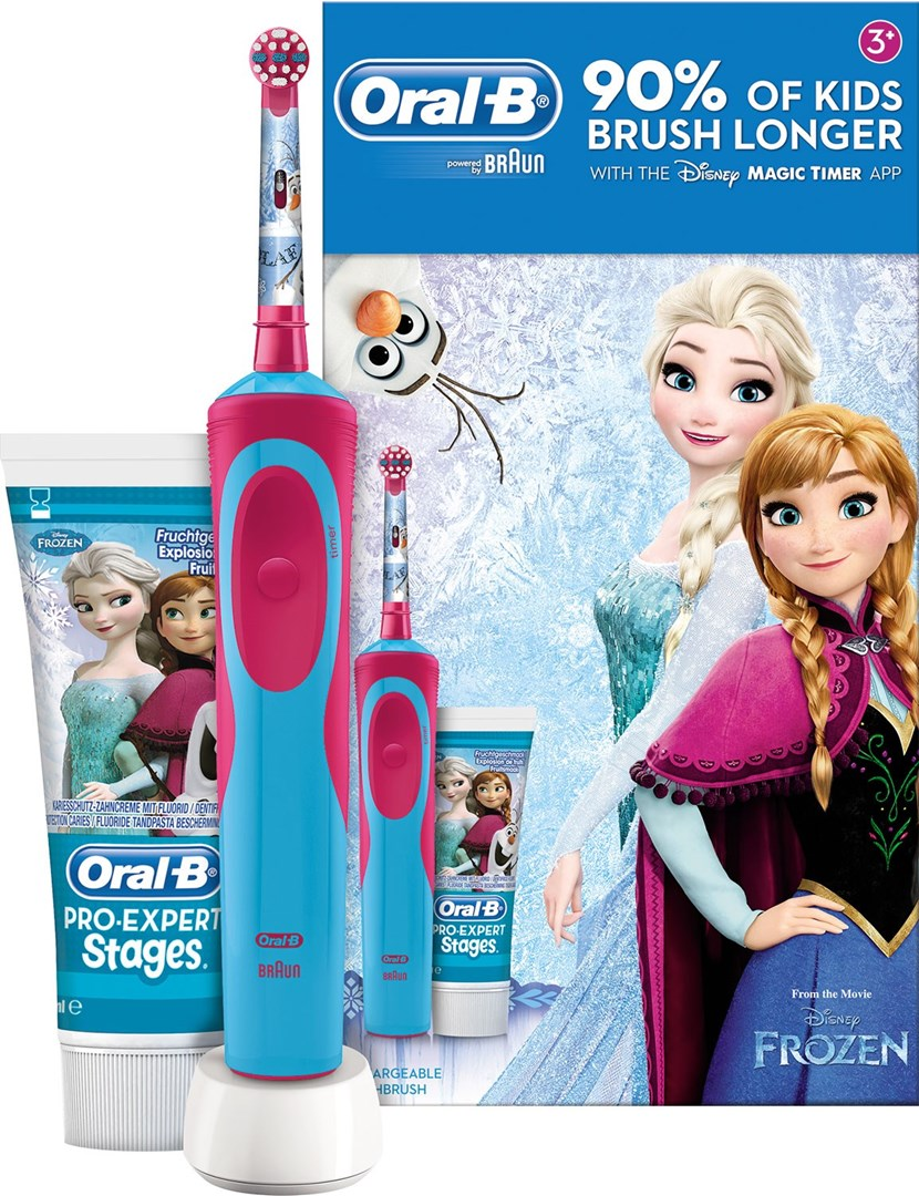 Oral-B Giftpack Frozen - Elektrisk barntandborste med Frozen-motiv    mobilapp 22d0bfdbecf44
