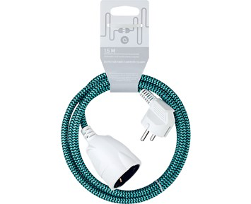 Andersson Extension cord textile black/turqoise, 1.5m