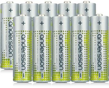 Andersson 10-pack AA alkaliska batterier