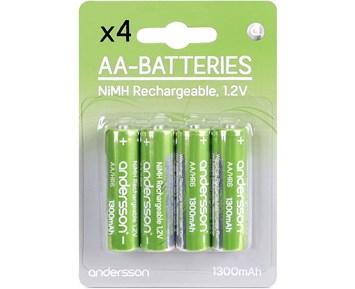Andersson Laddningsbara AA-batterier HR06 1,2V 1300mAh