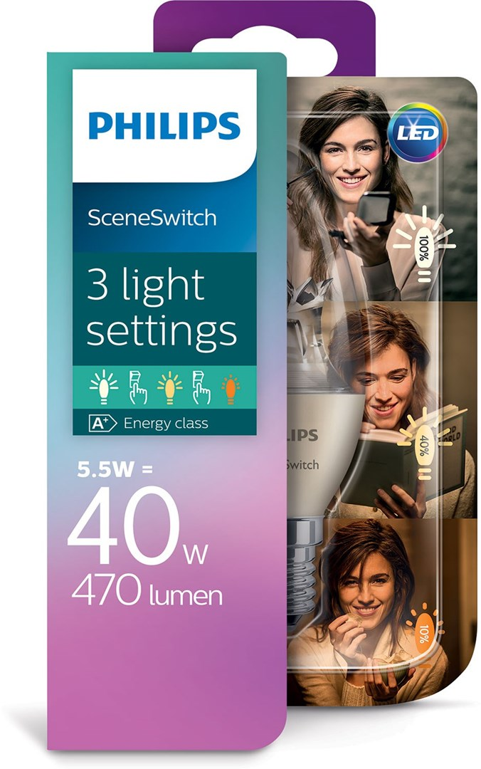 philips led ss 40w b38 e14 led lampa e14 med sceneswitch. Black Bedroom Furniture Sets. Home Design Ideas