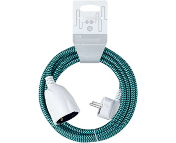 Andersson Extension cord textile black/turqoise, 3m