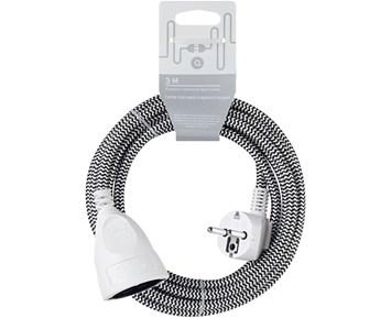 Andersson Extension cord textile black/white, 3m