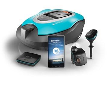gardena smart system set robotgr sklippare och smart bevattningssystem f r v lsk tt tr dg rd. Black Bedroom Furniture Sets. Home Design Ideas