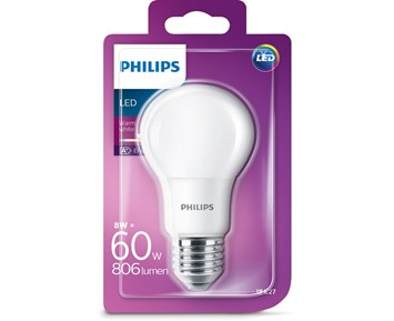 Philips LED normal (8W) 60W E27 frosta