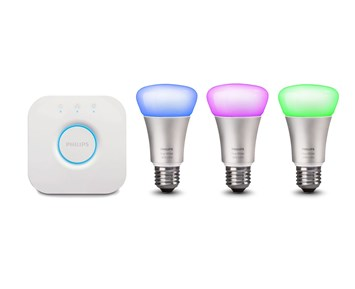 philips hue 9w a60 e27 3 set eu startpaket philips hue med f rgled lampor att styra med mobilen. Black Bedroom Furniture Sets. Home Design Ideas