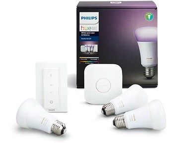 philips hue kit e27 f rg 10w philips hue startpaket f r smart hembelysning. Black Bedroom Furniture Sets. Home Design Ideas
