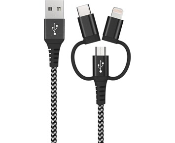 Andersson Lightning Cable 3in1 Black/White 1,5M 2.4A