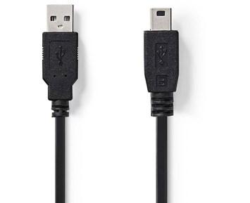 Nedis USB 2.0-Kabel USB A hane - Mini B hankontakt Rund 2 m Svart