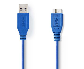 Nedis USB 3.0-Kabel USB A hane - Micro B-hane Rund 1 m Blå