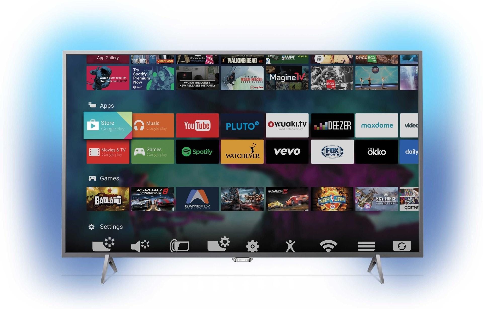 philips 55put6401 55 4k smart tv med st mningsfull ambilight. Black Bedroom Furniture Sets. Home Design Ideas
