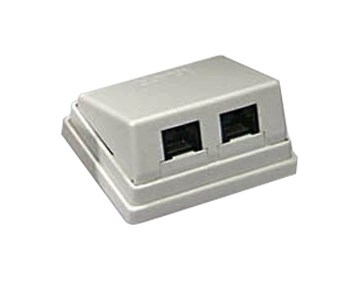 Deltaco Wallsocket angeled UTP 2xRJ45
