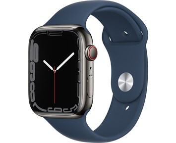 Apple  Watch Series 7 GPS + Cellular, 45mm Graphite Stainless Steel Case with Abyss Blue Sport Band - Regular