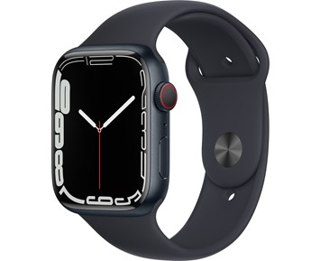 Apple  Watch Series 7 GPS + Cellular, 45mm Midnight Aluminium Case with Midnight Sport Band - Regular