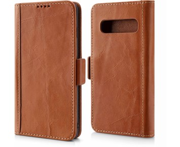 Andersson Genuine Leather Wallet w/ Magnetic Case Brown for Samsung S10