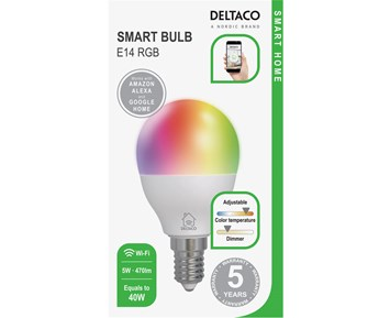 Deltaco Smart E14 RGB G45 Bulb 5W 470lm 1-pack
