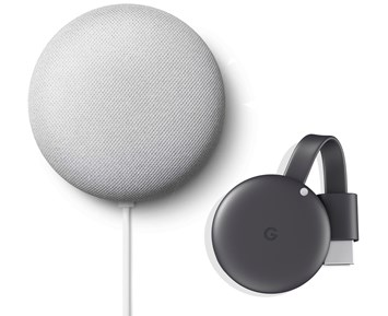 Google Nest Mini Chalk + Google Chromecast (3rd generation)