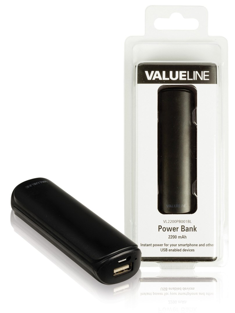 valueline power bank 2200mah black enkel str mbank f r uppladdning av usb enheter. Black Bedroom Furniture Sets. Home Design Ideas