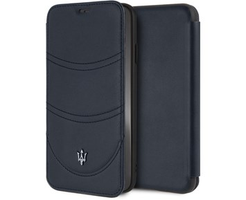Maserati Booktype Genuine Leather Navy For Apple iPhone Xs Max