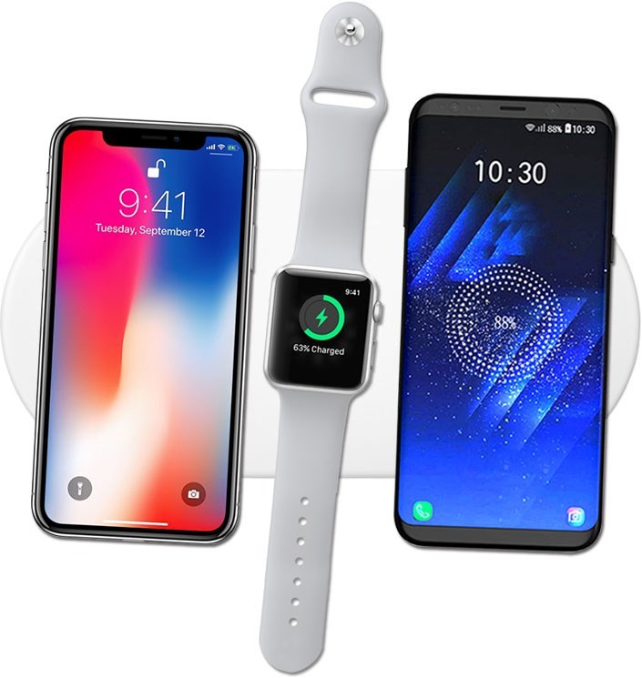 Qi laddplatta för två mobiler & Apple Watch