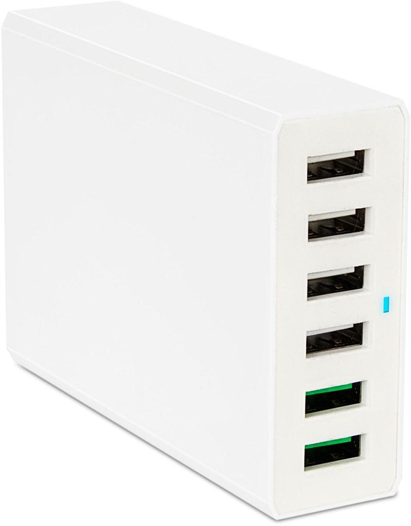 USB laddare med 6 portar och Quick Charge 3.0
