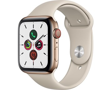 Apple Apple Watch Series 5 GPS + Cellular, 44mm Gold Stainless Steel Case with Stone Sport Band