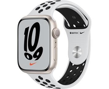 Apple  Watch Nike Series 7 GPS, 45mm Starlight Aluminium Case with Pure Platinum/Black Nike Sport Band - Regular
