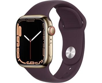 Apple  Watch Series 7 GPS + Cellular, 41mm Gold Stainless Steel Case with Dark Cherry Sport Band - Regular