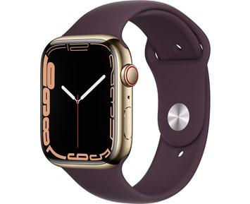 Apple  Watch Series 7 GPS + Cellular, 45mm Gold Stainless Steel Case with Dark Cherry Sport Band - Regular