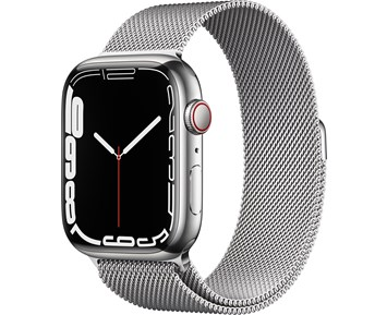 Apple  Watch Series 7 GPS + Cellular, 45mm Silver Stainless Steel Case with Silver Milanese Loop