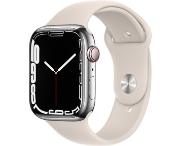 Apple  Watch Series 7 GPS + Cellular, 45mm Silver Stainless Steel Case with Starlight Sport Band - Regular