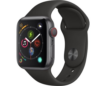 Apple Watch Series 4 GPS + Cellular, 40mm Space Grey Aluminium Case with Black Sport Band