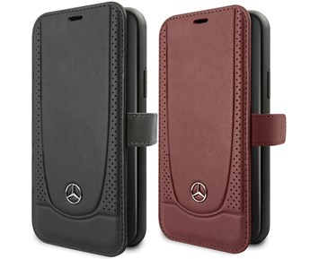 Mercedes-Benz Booktype Genuine Leather Peforations Black For Apple iPhone 11 Pro