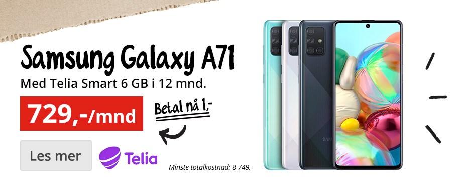 Samsung Galaxy A71 med Telia Smart 6GB for 729,-/mnd