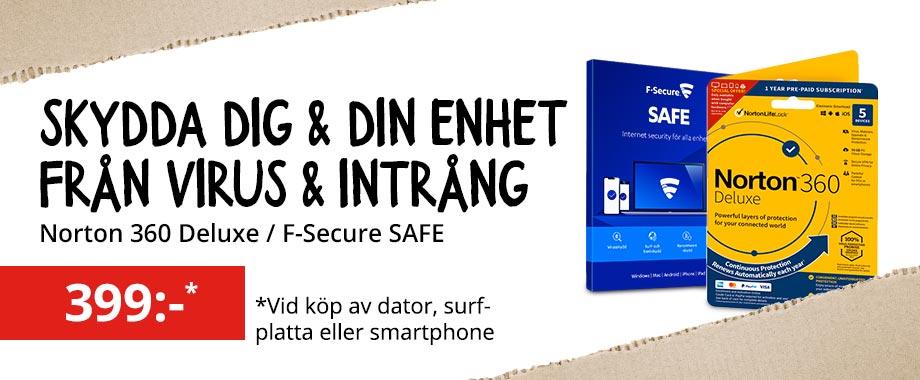 Skydda dig själv och din data. Köp säkerhetsprogram tillsammans med din nya dator, surfplatta eller mobil.