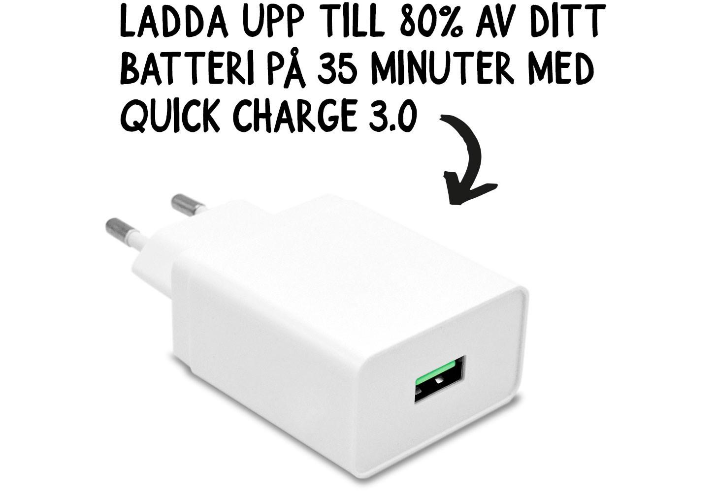 Ladda upp till 80% på 35 minuter med Quick Charge 3.0
