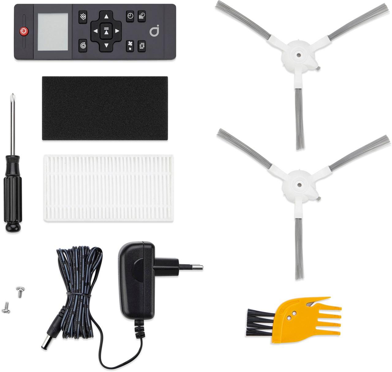 Robotstøvsugeren RVC 1.2 leveres med bl.a. fjernkontroll.