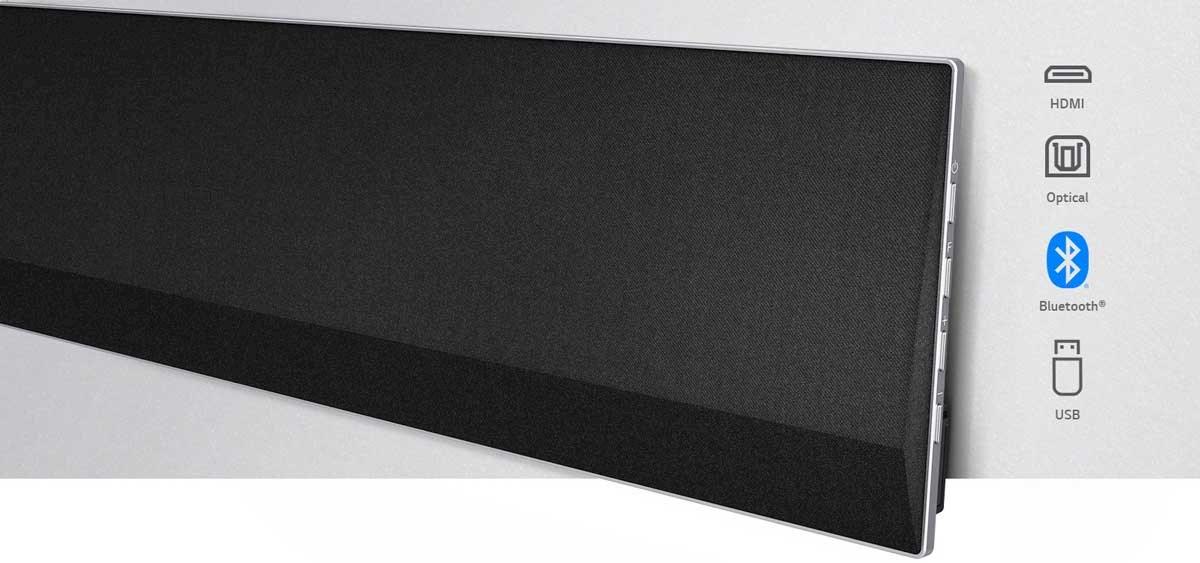 LG GX byr på en rekke tilkoblingsmuligheter, som HDMI, optisk kabel, Bluetooth og USB.