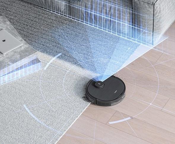 Robotstøvsugeren navigerer ved hjelp av laser og kamera.